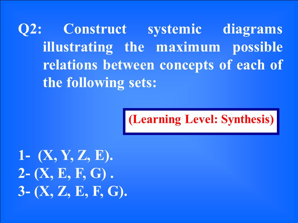 Q2: Construct systemic diagrams illustrating the maximum possible relations between concepts of each of the following sets: 1- (X, Y, Z, E).