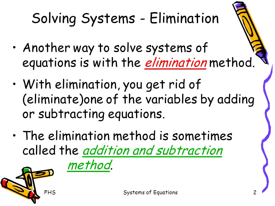 FHSSystems of Equations2 Solving Systems - Elimination Another way to solve systems of equations is with the elimination method.