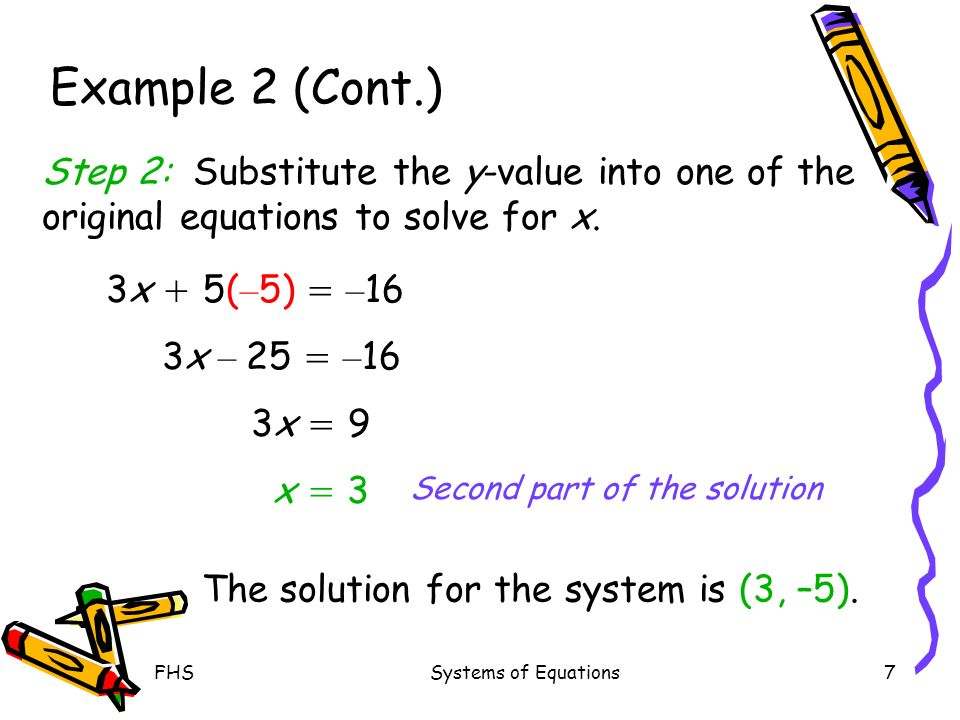 FHSSystems of Equations7 Example 2 (Cont.) Second part of the solution Step 2: Substitute the y-value into one of the original equations to solve for x.