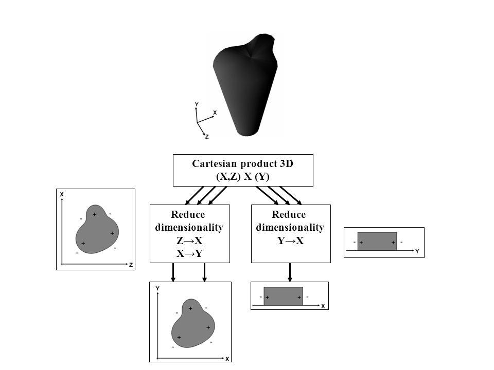 Reduce dimensionality ZX XY Reduce dimensionality YX Cartesian product 3D (X,Z) X (Y)