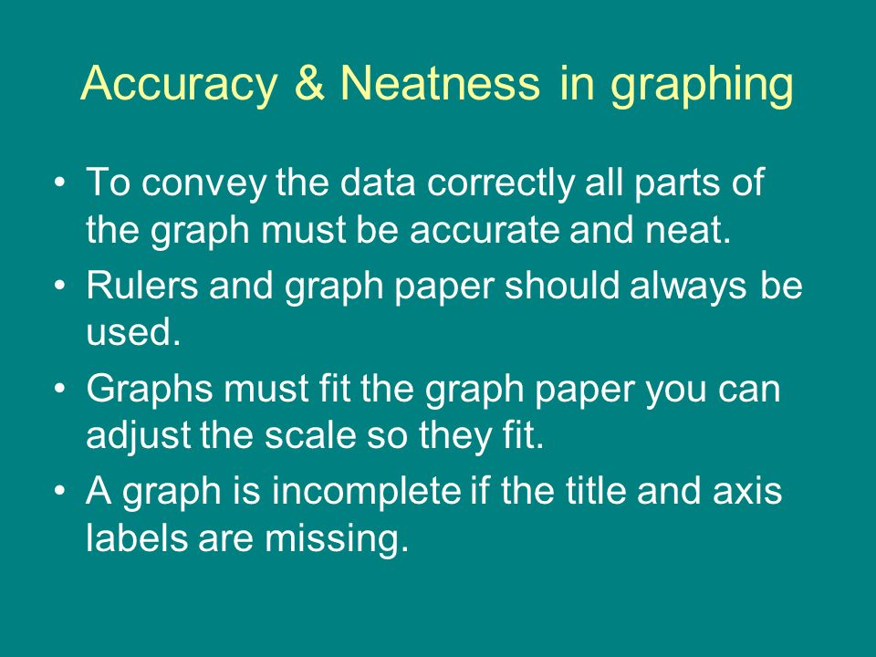 Accuracy & Neatness in graphing To convey the data correctly all parts of the graph must be accurate and neat. Rulers and graph paper should always be