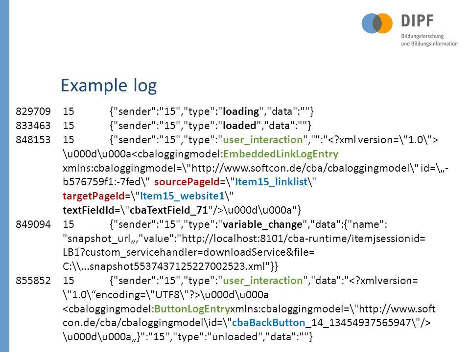 15 82970915{ sender : 15 , type : loading , data : } 83346315{ sender : 15 , type : loaded , data : } 84815315{ sender : 15 , type : user_interaction , : \u000d\u000a \u000d\u000a } 84909415{ sender : 15 , type : variable_change , data :{ name : snapshot_url, value : http://localhost:8101/cba-runtime/itemjsessionid= LB1?custom_servicehandler=downloadService&file= C:\\...snapshot5537437125227002523.xml }} 85585215{ sender : 15 , type : user_interaction , data : <?xmlversion= \ 1.0\encoding=\ UTF8\ ?>\u000d\u000a \u000d\u000a} : 15 , type : unloaded , data : } Example log