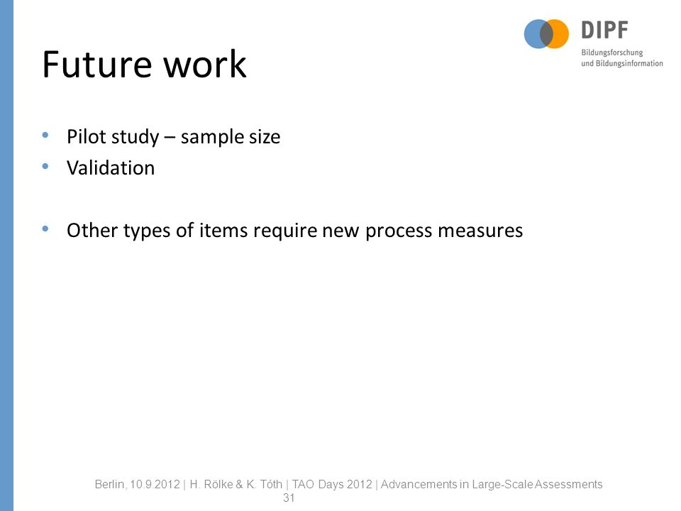 Future work Pilot study – sample size Validation Other types of items require new process measures Berlin, | H.