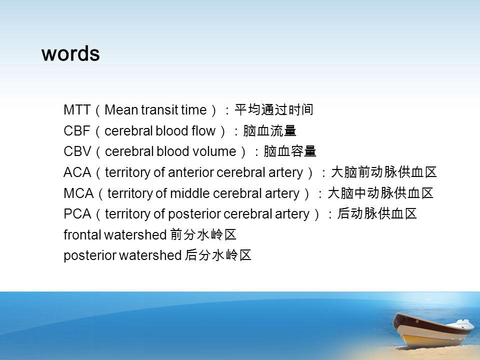 words MTT Mean transit time CBF cerebral blood flow CBV cerebral blood volume ACA territory of anterior cerebral artery MCA territory of middle cerebral artery PCA territory of posterior cerebral artery frontal watershed posterior watershed