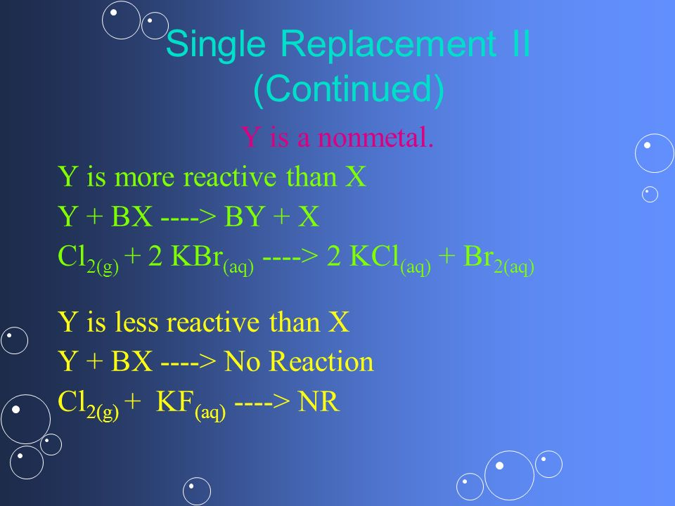 Single Replacement II (Continued) Y is a nonmetal. Y is more reactive than X Y + BX ----> BY + X Cl 2(g) + 2 KBr (aq) ----> 2 KCl (aq) + Br 2(aq) Y is