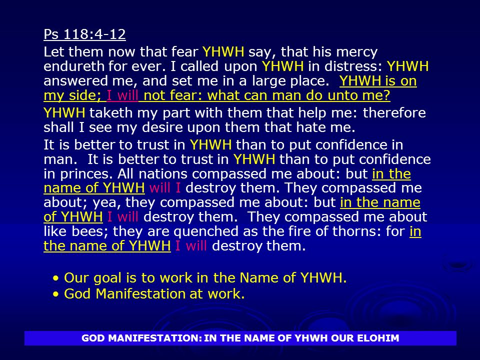 GOD MANIFESTATION: IN THE NAME OF YHWH OUR ELOHIM Ps 118:4-12 Let them now that fear YHWH say, that his mercy endureth for ever.