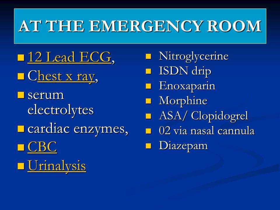 AT THE EMERGENCY ROOM 12 Lead ECG, 12 Lead ECG, 12 Lead ECG 12 Lead ECG Chest x ray, Chest x ray,hest x rayhest x ray serum electrolytes serum electro
