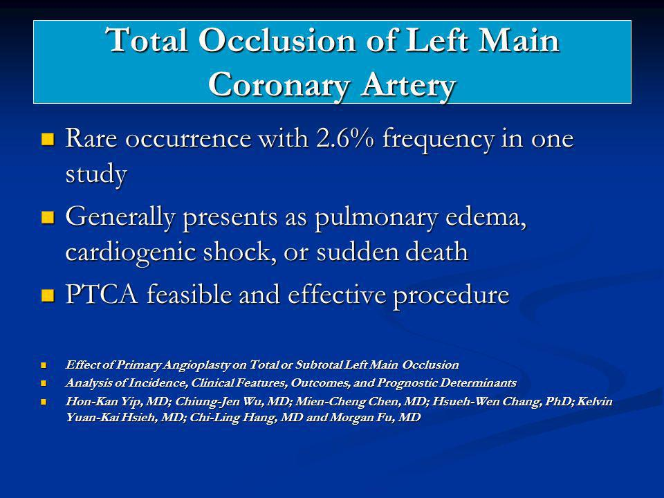 Total Occlusion of Left Main Coronary Artery Rare occurrence with 2.6% frequency in one study Rare occurrence with 2.6% frequency in one study General
