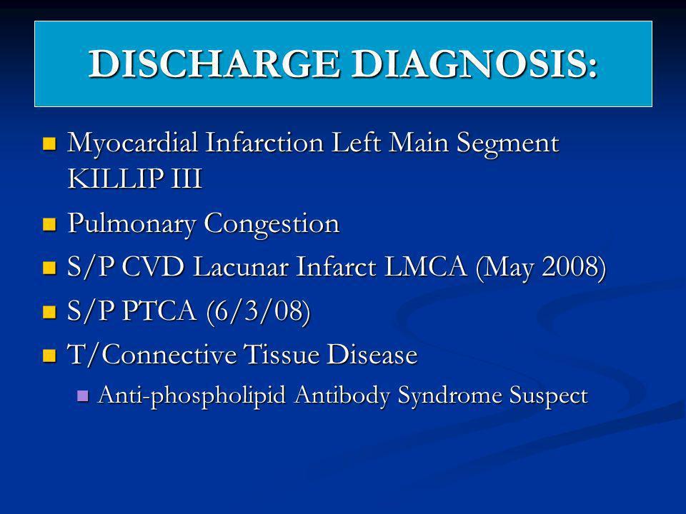 DISCHARGE DIAGNOSIS: Myocardial Infarction Left Main Segment KILLIP III Myocardial Infarction Left Main Segment KILLIP III Pulmonary Congestion Pulmon