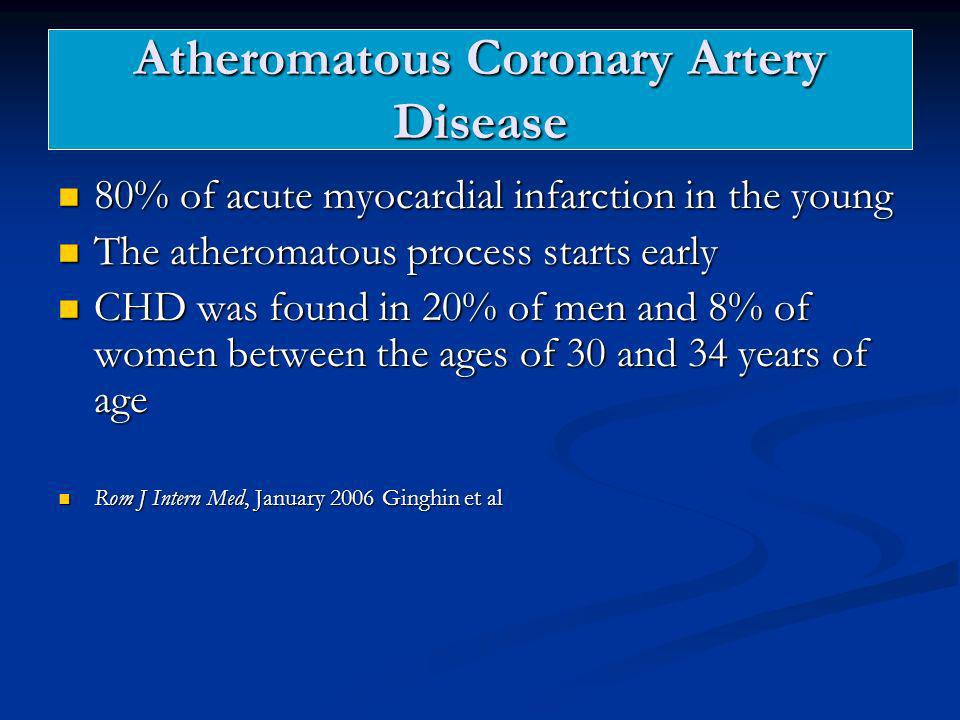 Atheromatous Coronary Artery Disease 80% of acute myocardial infarction in the young 80% of acute myocardial infarction in the young The atheromatous