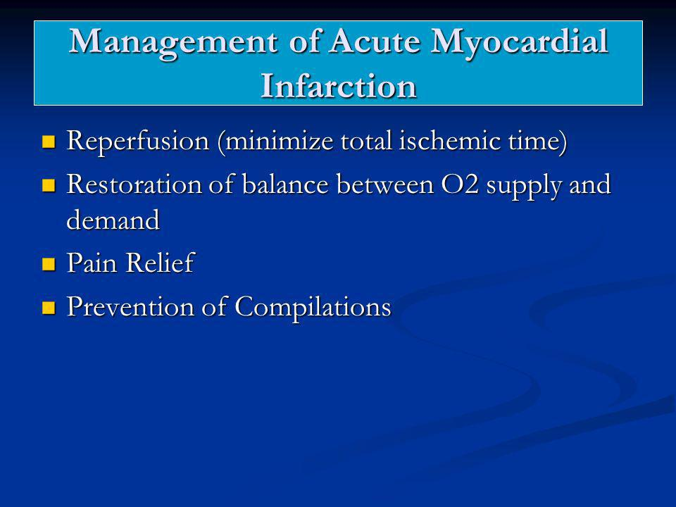 Management of Acute Myocardial Infarction Reperfusion (minimize total ischemic time) Reperfusion (minimize total ischemic time) Restoration of balance
