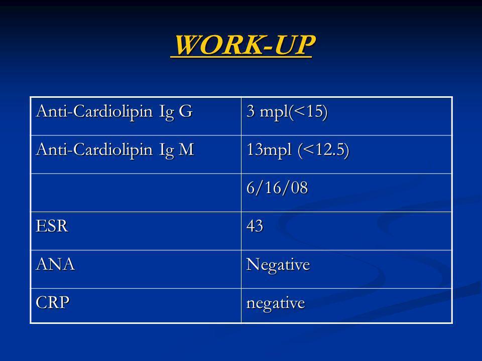 WORK-UP Anti-Cardiolipin Ig G 3 mpl(<15) Anti-Cardiolipin Ig M 13mpl (<12.5) 6/16/08 ESR43 ANANegative CRPnegative