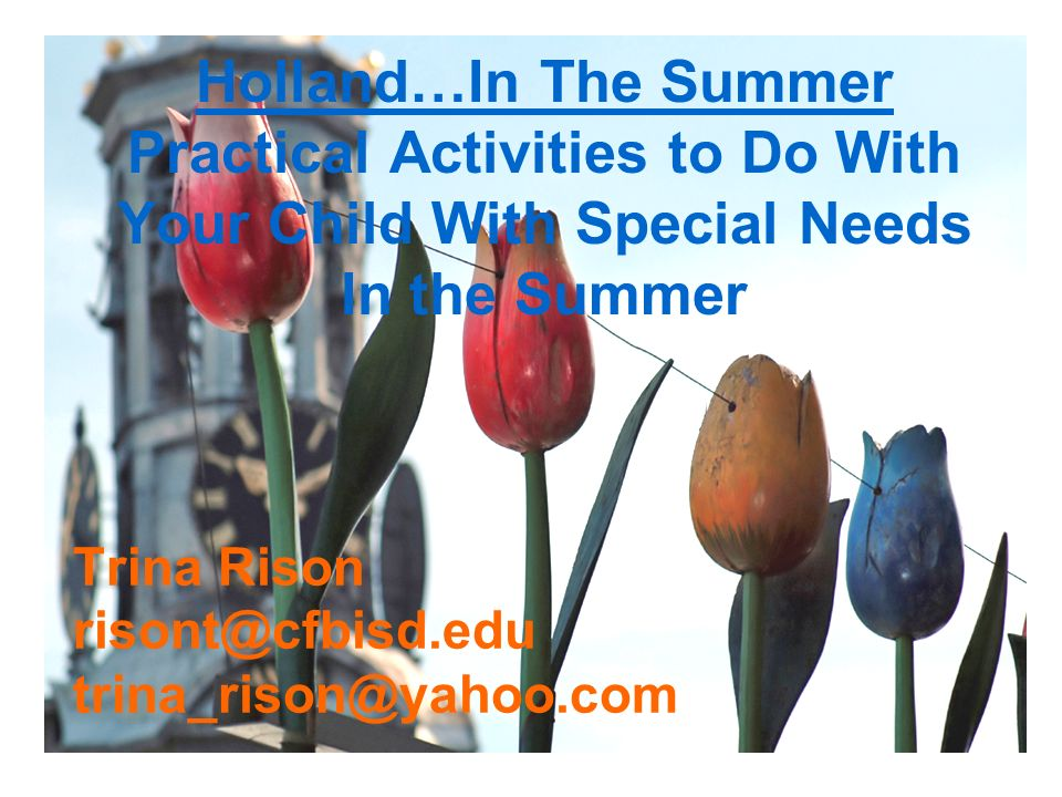 Trina Rison risont@cfbisd.edu trina_rison@yahoo.com Holland…In The Summer Practical Activities to Do With Your Child With Special Needs In the Summer