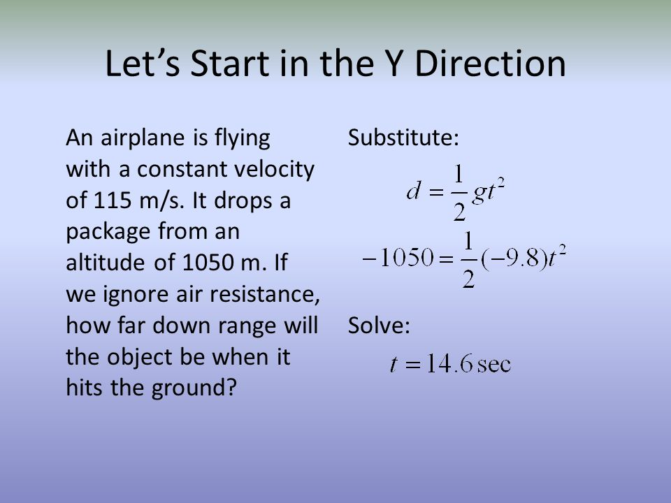 Lets Start in the Y Direction An airplane is flying with a constant velocity of 115 m/s. It drops a package from an altitude of 1050 m. If we ignore a