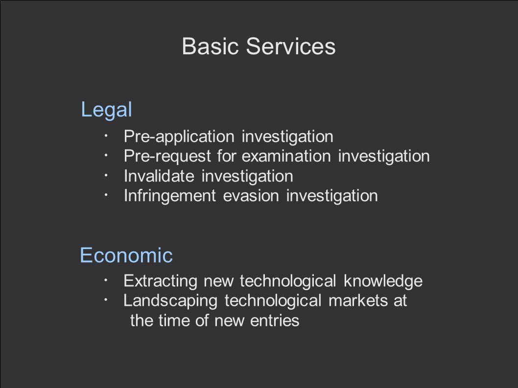 Basic Services Legal Pre-application investigation Pre-request for examination investigation Invalidate investigation Infringement evasion investigati