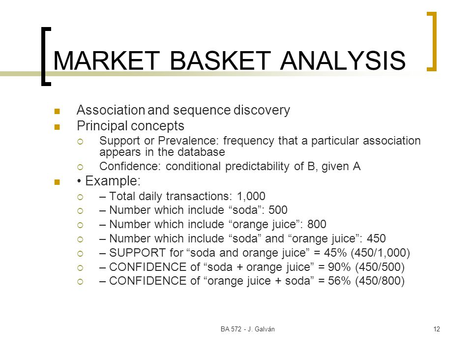 BA 572 - J. Galván12 MARKET BASKET ANALYSIS Association and sequence discovery Principal concepts Support or Prevalence: frequency that a particular a