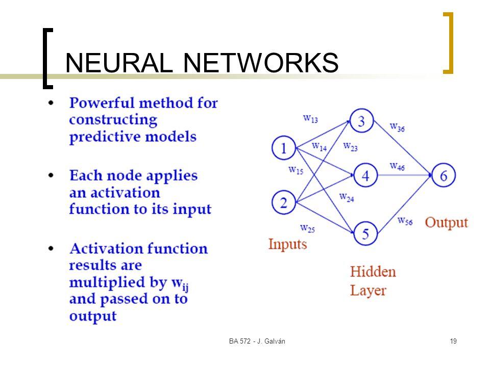 BA 572 - J. Galván19 NEURAL NETWORKS