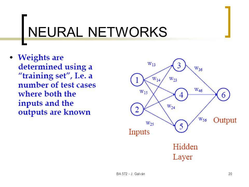BA 572 - J. Galván20 NEURAL NETWORKS