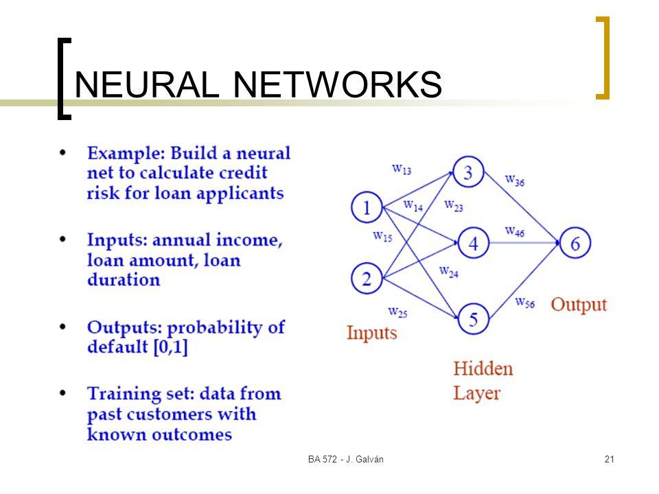 BA 572 - J. Galván21 NEURAL NETWORKS