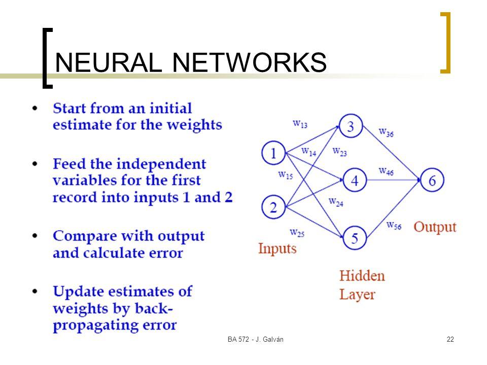 BA 572 - J. Galván22 NEURAL NETWORKS