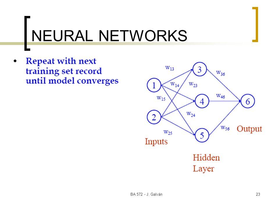 BA 572 - J. Galván23 NEURAL NETWORKS