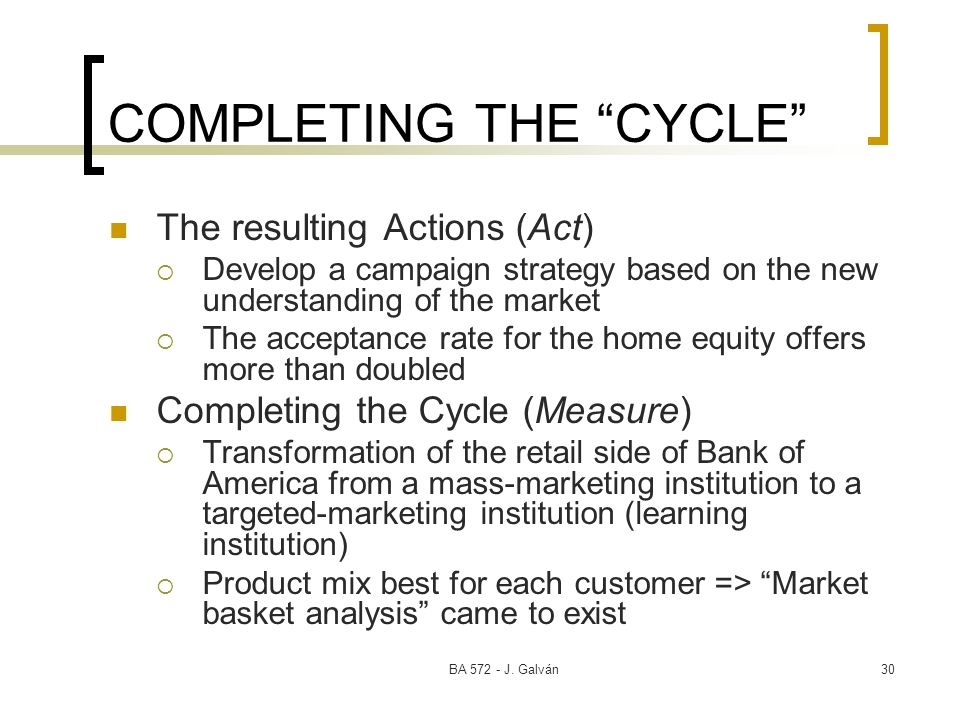 BA 572 - J. Galván30 COMPLETING THE CYCLE The resulting Actions (Act) Develop a campaign strategy based on the new understanding of the market The acc