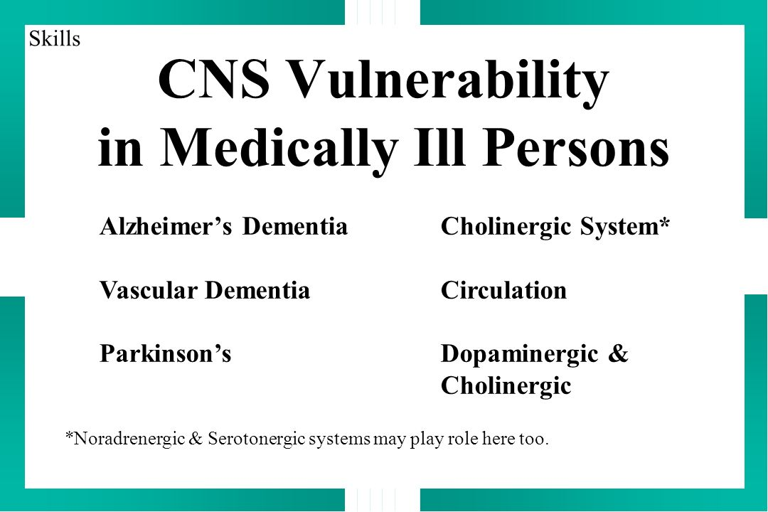 CNS Vulnerability in Medically Ill Persons Alzheimers DementiaCholinergic System* Vascular DementiaCirculation ParkinsonsDopaminergic & Cholinergic *Noradrenergic & Serotonergic systems may play role here too.