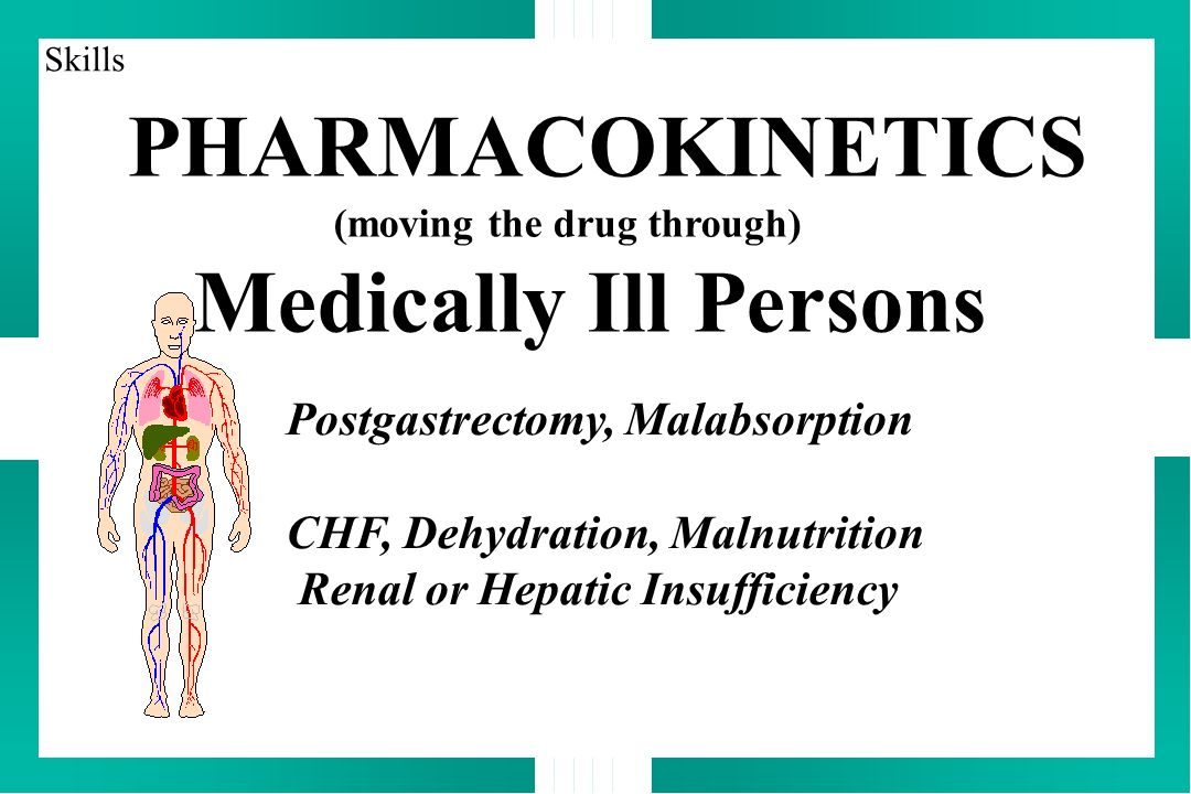 PHARMACOKINETICS (moving the drug through) Medically Ill Persons Postgastrectomy, Malabsorption CHF, Dehydration, Malnutrition Renal or Hepatic Insuff