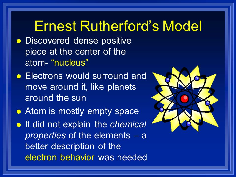 Ernest Rutherfords Model l Discovered dense positive piece at the center of the atom- nucleus l Electrons would surround and move around it, like planets around the sun l Atom is mostly empty space l It did not explain the chemical properties of the elements – a better description of the electron behavior was needed