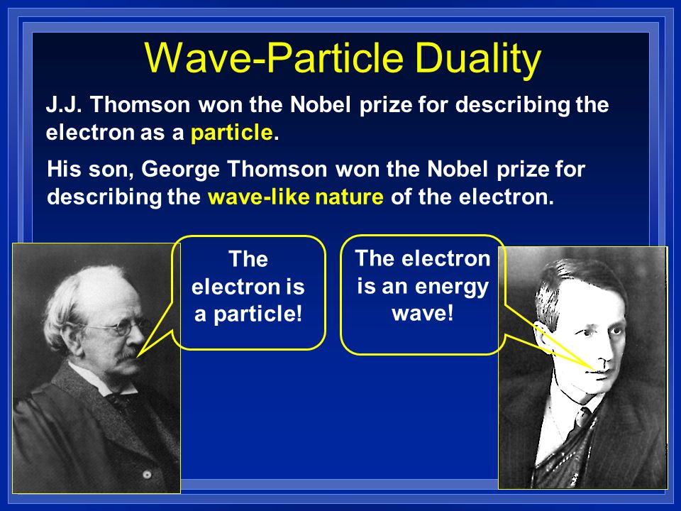 Wave-Particle Duality J.J. Thomson won the Nobel prize for describing the electron as a particle.
