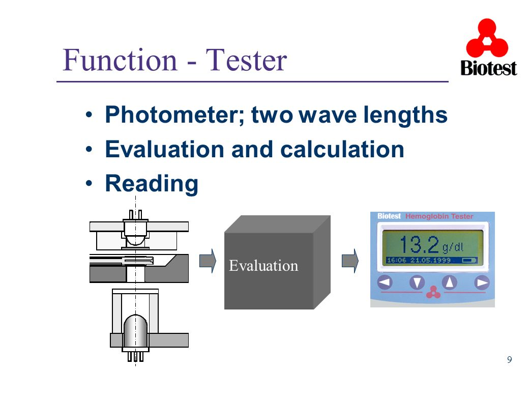 20 Features Tester Automatic calibration: no calibration or test cuvette needed Cuvette holder minimizing the risk of contamination Automatic monitoring of power supply with fast loading of batteries (1 hour loading > 40 hours of measuring) Automatic shut off with latest value saved Measures only cuvettes with properly haemolysed blood