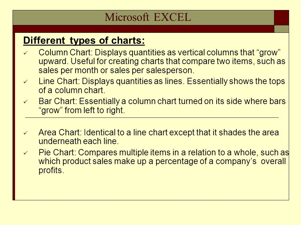Microsoft EXCEL Different types of charts: Column Chart: Displays quantities as vertical columns that grow upward. Useful for creating charts that com