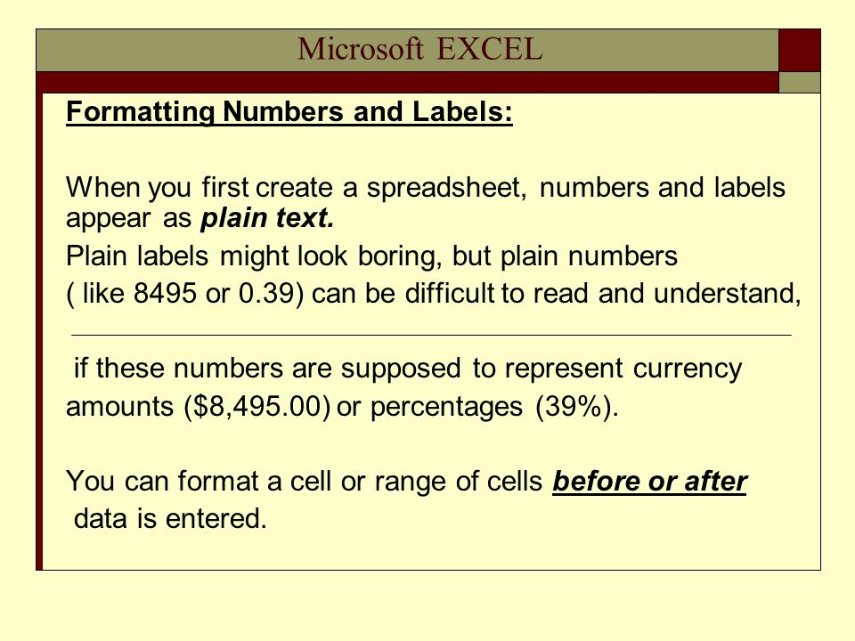 Microsoft EXCEL Formatting Numbers and Labels: When you first create a spreadsheet, numbers and labels appear as plain text. Plain labels might look b