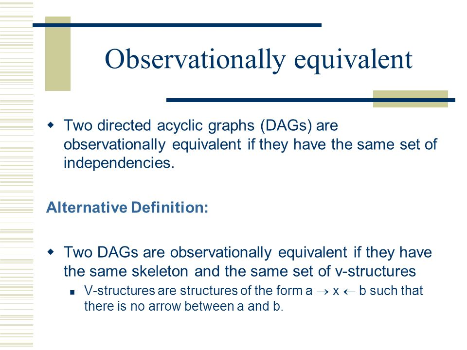Observationally equivalent Two directed acyclic graphs (DAGs) are observationally equivalent if they have the same set of independencies. Alternative