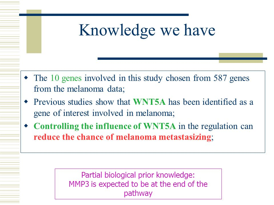 Knowledge we have The 10 genes involved in this study chosen from 587 genes from the melanoma data; Previous studies show that WNT5A has been identifi