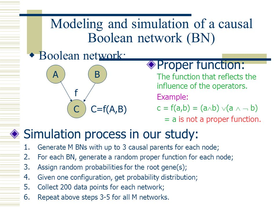 Modeling and simulation of a causal Boolean network (BN) Boolean network: Proper function: The function that reflects the influence of the operators.