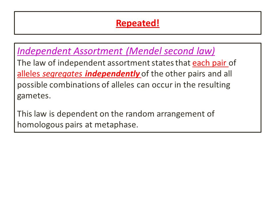 Repeated! Independent Assortment (Mendel second law) The law of independent assortment states that each pair of alleles segregates independently of th