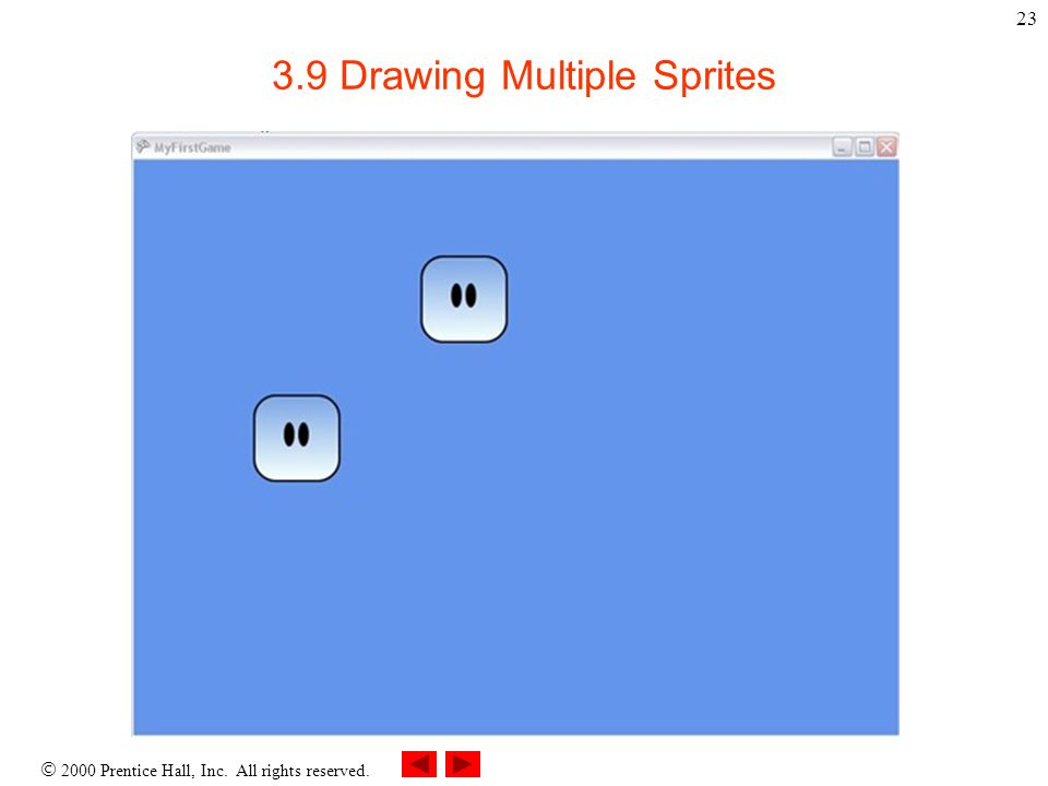 2000 Prentice Hall, Inc. All rights reserved. 23 3.9 Drawing Multiple Sprites