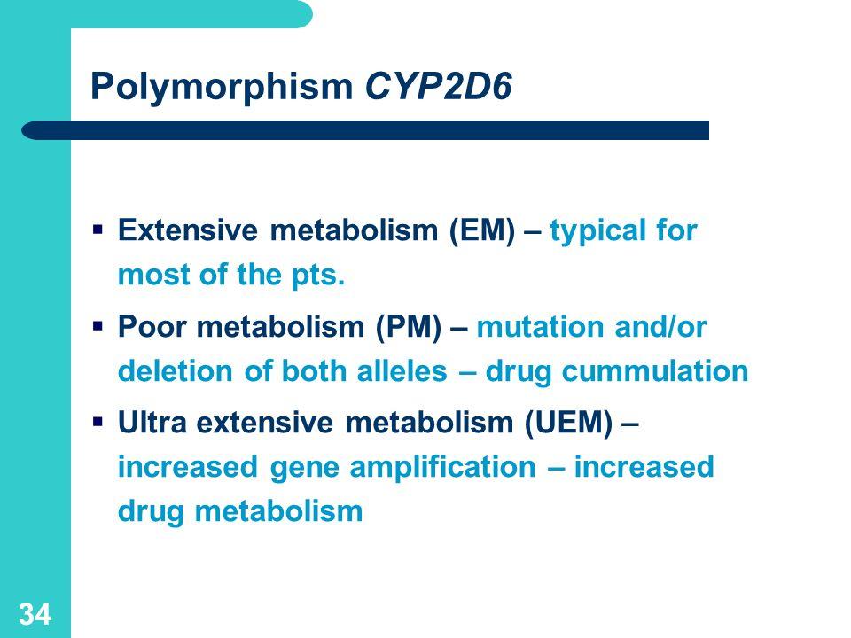 33 CYP2D6 catalysis of hydroxylation or demetylation in the liver -blockers, antidysrhytmics antipsychotics, antidepresants antiemetics Analgetics – codeine, dihydrocodeine, dextrometorphan hydrocodone, oxycodone, tramadol