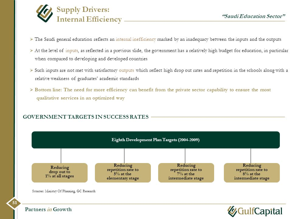 Partners in Growth Supply Drivers: Internal Efficiency GOVERNMENT TARGETS IN SUCCESS RATES Sources: Ministry Of Planning, GC Research The Saudi genera