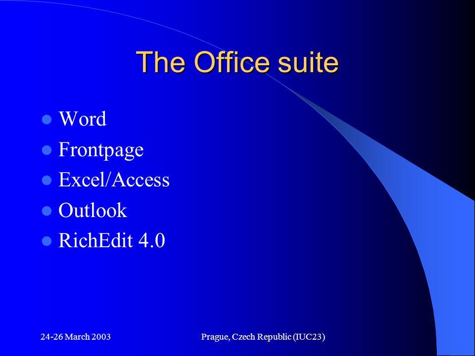 24-26 March 2003Prague, Czech Republic (IUC23) The Office suite Word Frontpage Excel/Access Outlook RichEdit 4.0