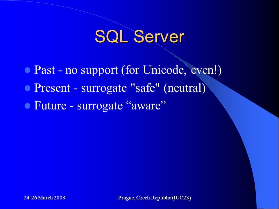 24-26 March 2003Prague, Czech Republic (IUC23) SQL Server Past - no support (for Unicode, even!) Present - surrogate