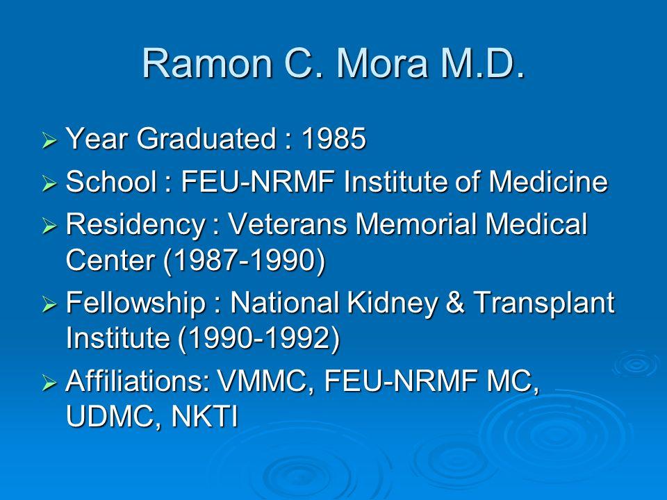 Ramon C. Mora M.D. Year Graduated : 1985 Year Graduated : 1985 School : FEU-NRMF Institute of Medicine School : FEU-NRMF Institute of Medicine Residen