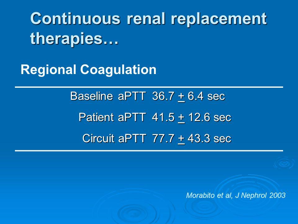 Continuous renal replacement therapies… Regional Coagulation Baseline aPTT 36.7 + 6.4 sec Patient aPTT 41.5 + 12.6 sec Circuit aPTT 77.7 + 43.3 sec Mo