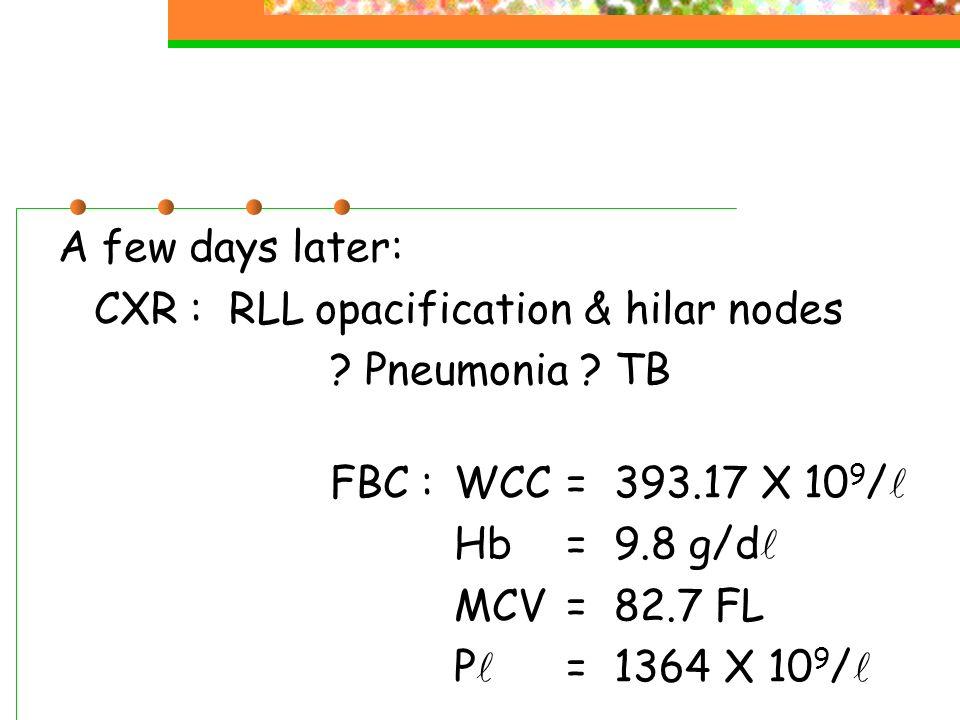 A few days later: CXR : RLL opacification & hilar nodes ? Pneumonia ? TB FBC :WCC=393.17 X 10 9 / Hb=9.8 g/d MCV=82.7 FL P =1364 X 10 9 /