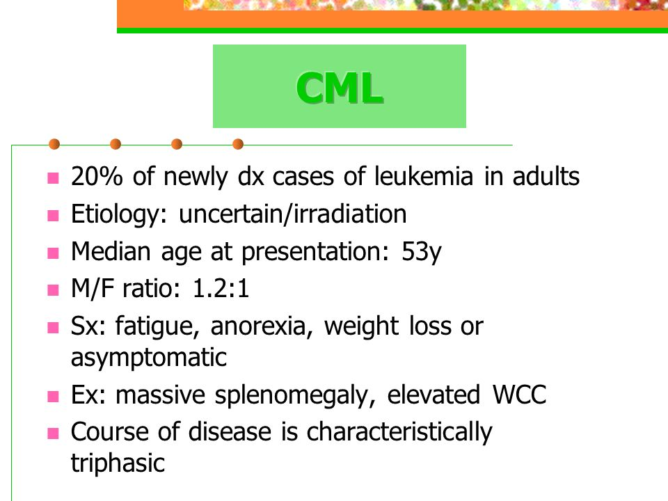 20% of newly dx cases of leukemia in adults Etiology: uncertain/irradiation Median age at presentation: 53y M/F ratio: 1.2:1 Sx: fatigue, anorexia, we