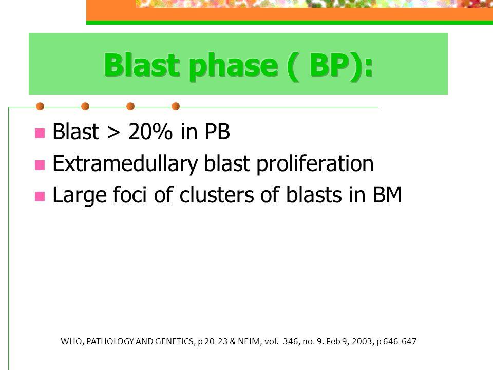 Blast > 20% in PB Extramedullary blast proliferation Large foci of clusters of blasts in BM WHO, PATHOLOGY AND GENETICS, p 20-23 & NEJM, vol. 346, no.