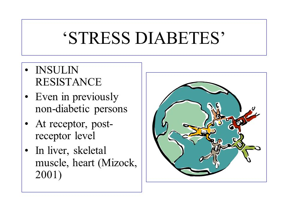 STRESS DIABETES INSULIN RESISTANCE Even in previously non-diabetic persons At receptor, post- receptor level In liver, skeletal muscle, heart (Mizock,