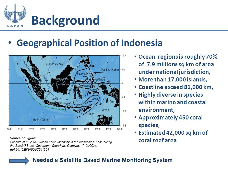 Geographical Position of Indonesia Background Source of Figure: Susanto et al, 2006. Ocean color variability in the Indonesian Seas during the SeaWiFS