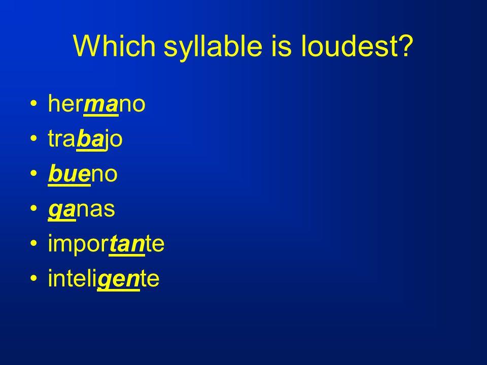 Which syllable is loudest? hermano trabajo bueno ganas importante inteligente
